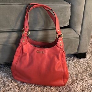 Coach Ashely leather hobo bag coral